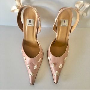 Bakers Sling Back Very Pointy Toe Pink Ribbon Heel